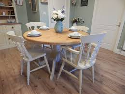 Solid Pine Table Vintage Large Round Shabby Chic Solid Pine Table U0026 4 Chairs