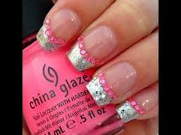 silver pink glitter french tip nail design youtube