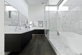Dark Floor Bathroom Contemporary With Calacatta Marble French Oak - White cabinets dark floor bathroom
