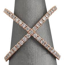 diamond x ring 14kt gold diamond x ring diamond fashion rings