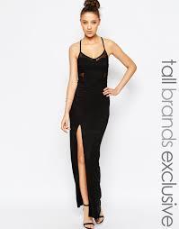 true decadence mesh insert maxi dress with thigh split in black lyst