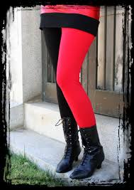 red and black cotton harley quinn leggings halloween cosplay plus size
