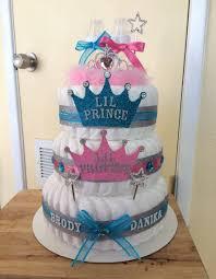 4 tier pink u0026 blue gender reveal diaper cake by 209 diaper cakes