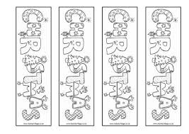 christmas word colouring bookmarks
