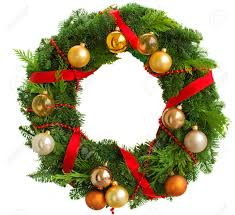 green christmas wreath with decorations isolated on