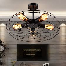 wrought iron ceiling lights retro 5 light wrought iron black fan semi flush mount ceiling light