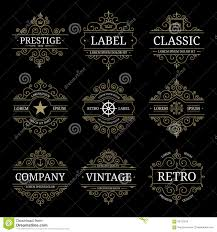 set of retro vintage luxury logo templates stock vector image