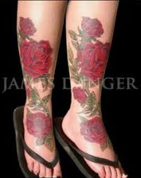 rose tattoo 54 red roses black swirls foot red nail