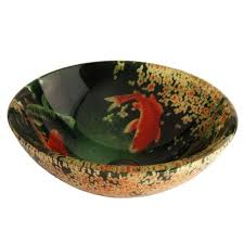 Sink Bowl Fontaine Koi And Lilies Glass Vessel Sink Fsa Vs Psz003d The