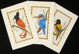 hand painted greeting cards tropical birds set http