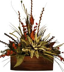Silk Flowers Arrangements - large rustic floral arrangement in wooden container rustic
