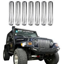 jeep wrangler front grill chrome front grill grille insert mesh frame trim cover 4 jeep