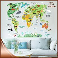 list manufacturers of wall map sticker buy wall map sticker get home decorations wall stickers animal world map removable kids bedroom stickers