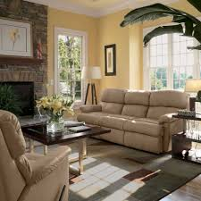 apartments modern cream leather sofa sectional and brick stone