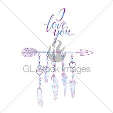 boho elements vector illustration with feathers arrow a gl