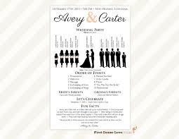 Simple Wedding Program Templates One Page Wedding Program Template Template Design