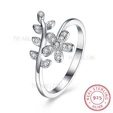 sted jewelry svr119 exquisite flower pattern bling zircon 925 real sterling