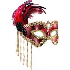red u0026 gold masquerade mask with feathers u0026 beads party delights