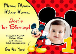 Mickey Mouse 1st Birthday Card Mickey 1st Birthday Invitations Mickey Mouse First Birthday Card