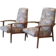 Mcm Furniture Pair Of French Mid Century Modern Mcm Upholstered Armchairs
