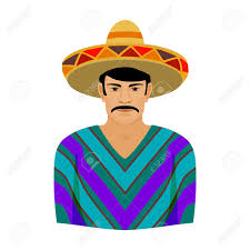 cartoon sombrero mexican man in sombrero and poncho icon in cartoon style isolated