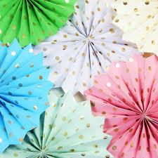 1x gold polka dot paper fan decoration accodion fans crinkle fans rosettes pinwheel backdrop for wedding