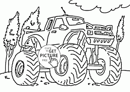 serious monster truck coloring page for kids transportation