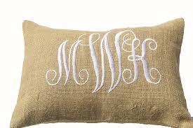 Customized Cushion Covers Amazon Com Amore Beaute Handcrafted Customizable Burlap Monogram