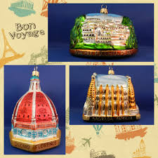 landmarks and monuments from around the world glass ornaments to