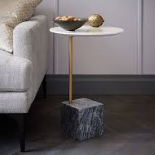 cube c side table white gray marble west elm