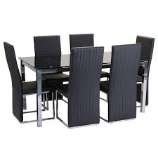 amusing glass dining sets 6 chairs about casa oakley glass table 6