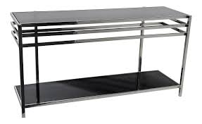 Glass Sofa Table Modern Living Room Sofa Industrial Modern Chrome Glass Console Table