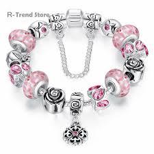 blue bracelet images Flower charms bracelet women pink blue bracelets bangles female jpg