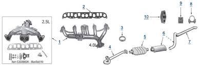 2001 jeep wrangler exhaust system xj replacement exhaust 4 wheel parts
