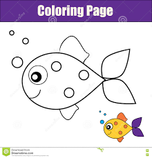coloring page with fish educational game printable drawing kids