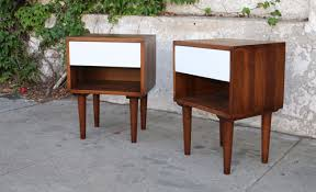 pair of mid century nightstands in walnut white sunbeam vintage