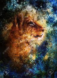 imagenes abstractas hd de animales poco cabeza cachorro de león pintura animal azul color de fondo