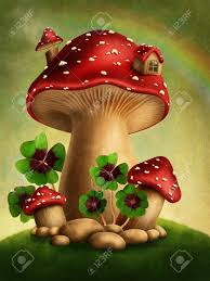 magic mushrooms and four leaf clover stock photo picture and