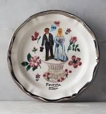 wedding plate anthropologie francophile nathalie lete forever groom