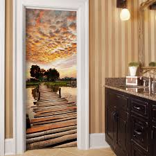 sunset on wood bridge door mural door murals custom wall murals sunset on wood bridge door mural