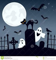 halloween background black cat cemetery with ghosts cat and bats royalty free stock photography