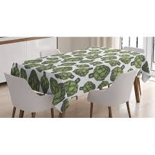 forest green table linens artichoke tablecloth detailed drawing of super foods fresh vitamin