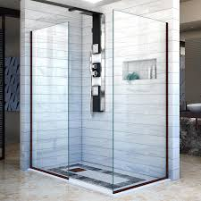 34 Shower Door Shop Dreamline Linea 34 In To 34 In W Frameless Rubbed Bronze