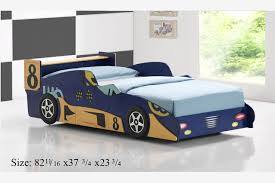 Twin Extra Long Bed 299 Good Trading Blue Wood Race Sports Car Boys Kids Twin Extra