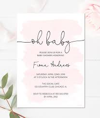 baby shower invitations girl pink watercolor baby shower invitation for a girl merryelle design