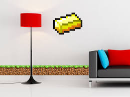 Minecraft Bedroom Decals by Reusable Removable Minecraft Gold Ingot Wall Decals Wall Sticker
