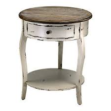 Accent Side Table Wood Accent Side Table Country Distressed White Ebay