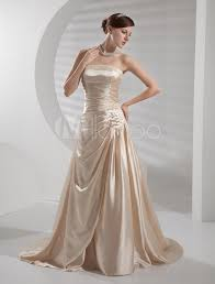 champagne wedding dress strapless backless ruched satin wedding