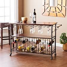 amazon com bar cart with glass and bottle support metal kitchen