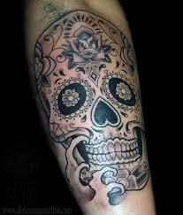 black and grey sugar skull by skeleton tattoonow